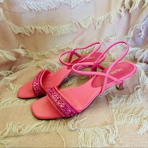 Madeline Magenta Pink Square Toe Heel Sandals Sz 8